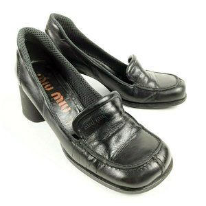 Vtg Miu Miu Shoes 37 Mid Block Heel Pumps Women's